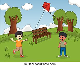 Children playing kites at the park