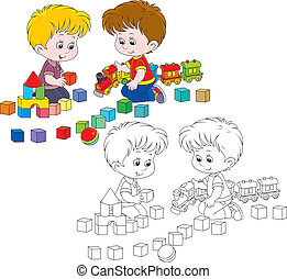 Children playing - Little boys play with a toy train and...