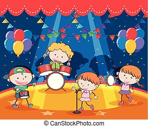 Children playing music in the band on stage