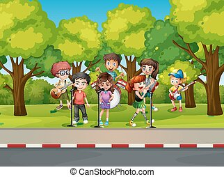 Children playing music on the street illustration