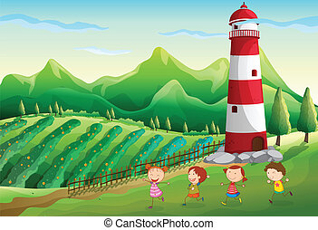 Children playing near the tower at the farm
