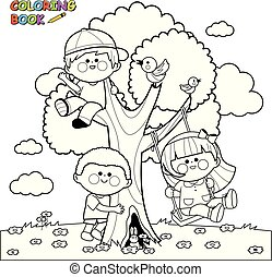 Children playing on a tree. Coloring book page