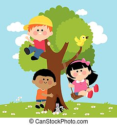 Children playing on a tree. Vector Illustration