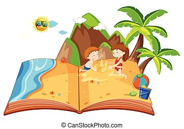 Children playing on an island pop up book illustration