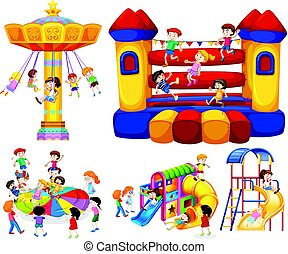 Children playing on different rides