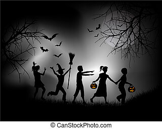 Children playing on Halloween night