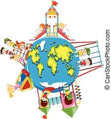 Children playing on playground around the world