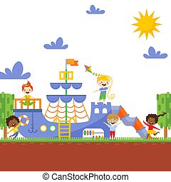Children playing on playground, vector illustration. Happy active kids running and laughing outdoors. Boys and girls carton characters, playground ship in summer park