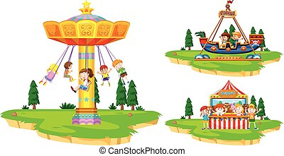 Children playing on rides in the park