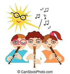 Three children playing on the flute and the sun as a conductor. Vector illustration.
