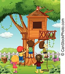 Children playing on the treehouse