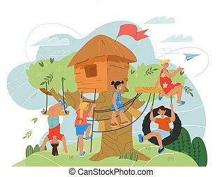 Children playing on tree house playground. Summer landscape with kids game hut.