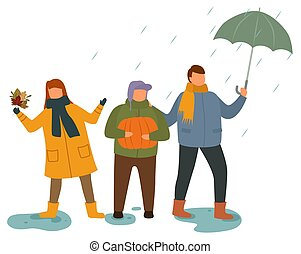 Children Playing Outdoors in Rainy Weather Vector