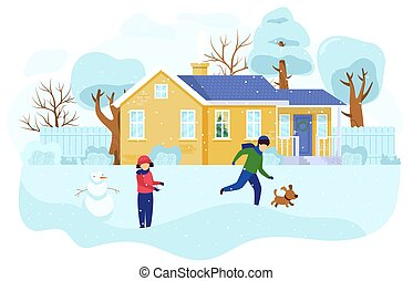 Children playing outdoors in winter, kids building snowman, people vector illustration