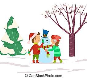 Children Playing Outdoors Sculpting Snowman Vector