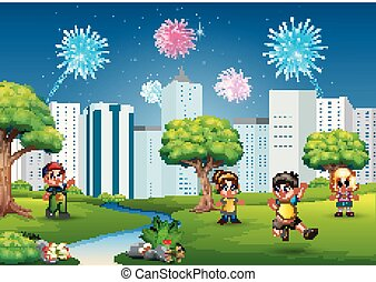 Children playing outdoors with cityscape and fireworks in the sky