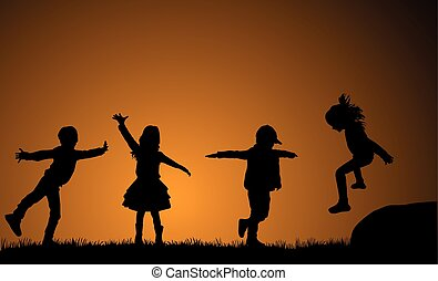 Children playing outside. Background sunset.