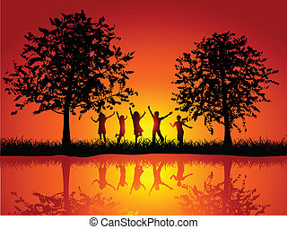 Children playing outside - Silhouettes of children playing...