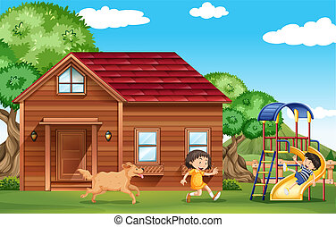 Children playing outside with dog