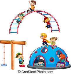 Children playing playground equipment