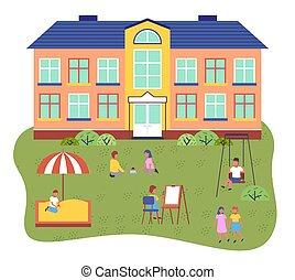 Children playing playground in front of kindergarten ...