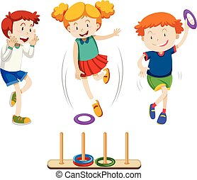 Children playing ring toss illustration