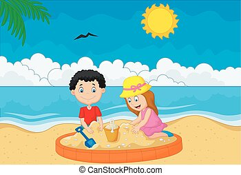 Children playing sand at tropical beach - Vector...