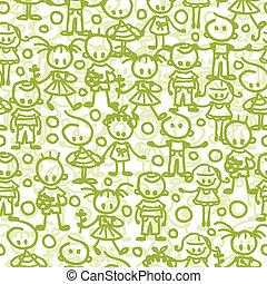 Children playing seamless pattern background
