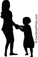 children playing, silhouette