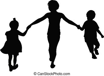 children playing, silhouette vector