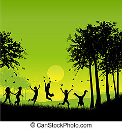 Silhouettes of children playing outside chasing butterflies