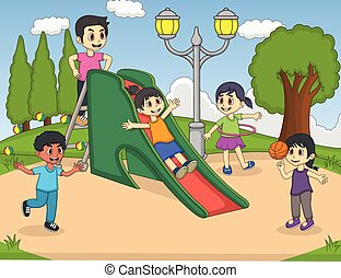 Children playing slide at the park