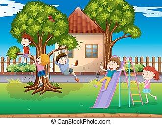 Children playing slide in the playground