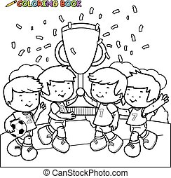 Children playing soccer. Coloring book page.
