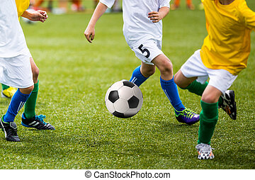 Children Playing Soccer Football Game