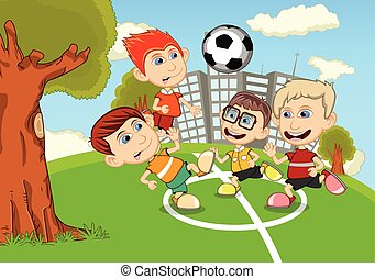Children playing soccer in the park