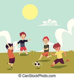 Children playing soccer on summer field, disabled boy running with football