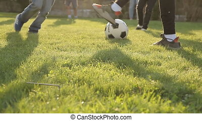 Children playing soccer with a ball on the grass