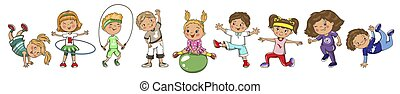 Children playing sports. Vector summer, spring activity.