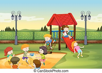 Children playing together in the playground