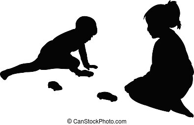 children playing together, silhouette