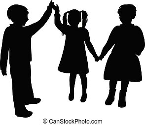 children playing together, silhouette vector