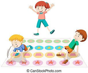Children playing twister together