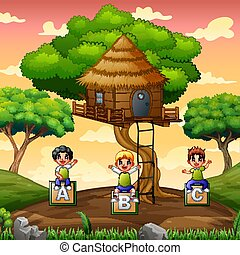 Children playing under the treehouse