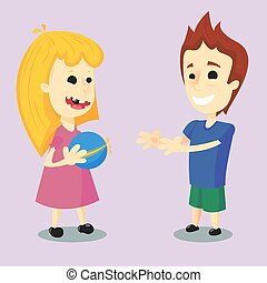 Children playing with a Ball - Vector