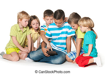 Children playing with a gadget