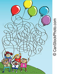 Children Playing with Balloons Maze Game - Children Playing...