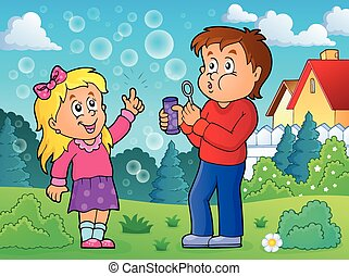 Children playing with bubble kit theme 2