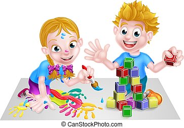 Children Playing With Building Blocks and Paint