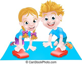 A cartoon boy and girl playing with their toy red cars.
